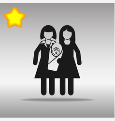lesbian couple with a baby black icon button logo vector image
