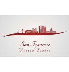 San Francisco skyline in red vector image