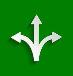 three-way direction arrow sign paper vector image