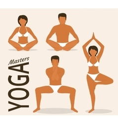 Woman and man are doing yoga vector image vector image