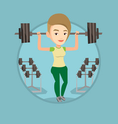 woman lifting barbell vector image