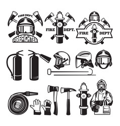 badges and labels set for fire department vector image