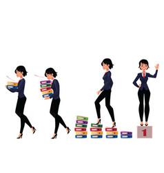 beautiful businesswoman carrying folders success vector image