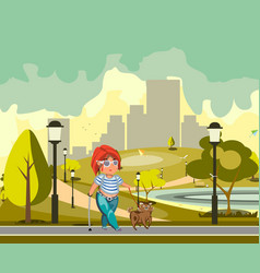 blind woman walking with dog vector image