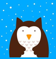 cartoon owl snow vector image vector image