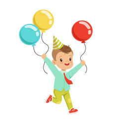 happy sweet little boy wearing a party hat running vector image vector image