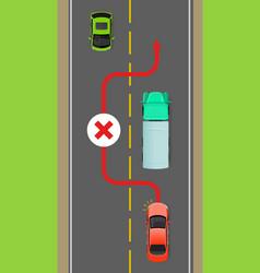 lorry overtaking ban flat diagram vector image