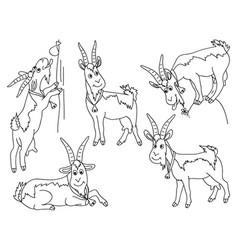 set of cute cartoons goats vector image vector image