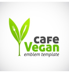 Vegan Cafe Concept Symbol Icon or Logo Template vector image vector image