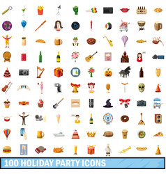 100 holiday party icons set cartoon style vector