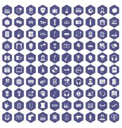 100 microphone icons hexagon purple vector