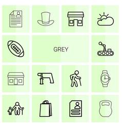 14 grey icons vector