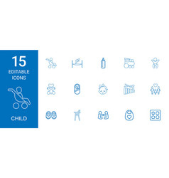 15 child icons vector