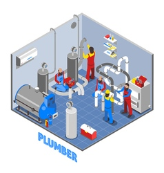 3d Plumber People Composition vector image