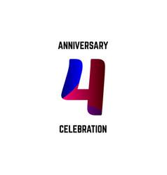 4 year anniversary celebration logo template vector