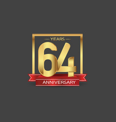64 years anniversary logo style with golden vector