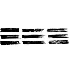 A long black thick brushstroke set vector