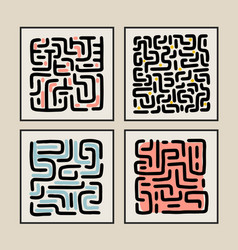 Abstract art composition labyrinth minimalist vector