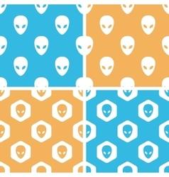 Alien pattern set colored vector