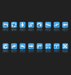 arrows set of blue icons on black background vector image