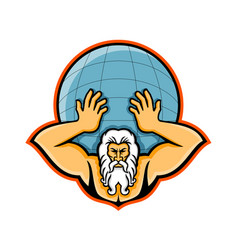 atlas holding up world mascot vector image