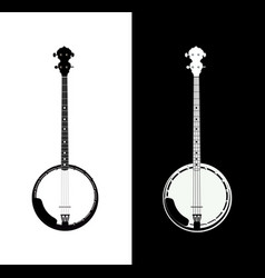 banjo in black and white vector image