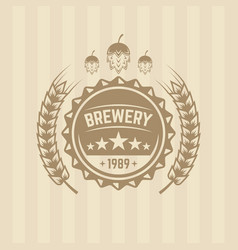 Beer cap and wheat single colored label vector