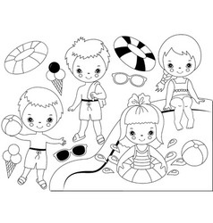Black and White Kids Pool Party Set vector