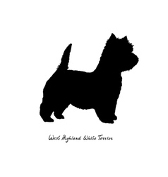 Black silhouette of dog West Highland White Terrie vector