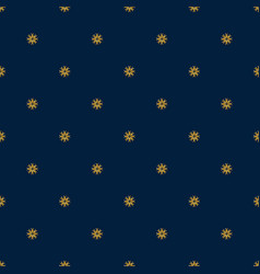 blue seamless pattern with gold snowflakes vector image