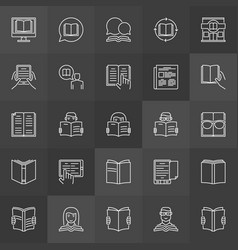 book reading icons vector image