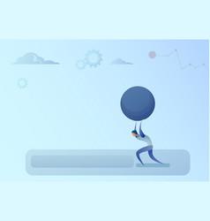 business man carry big stone credit debt finance vector image