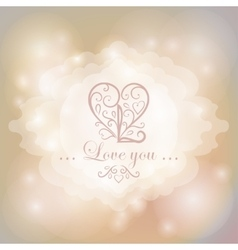 Calligraphic heart on magical lights background vector image