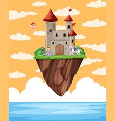 castle floating on island scene vector image