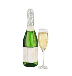 Champagne bottle and champagne glass watercolor vector
