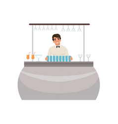 cheerful bartender at the bar counter barman vector image