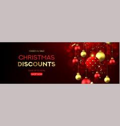 christmas sale horizontal banner vector image