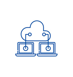 cloud technologies line icon concept cloud vector image