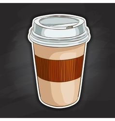 Coffee to go color picture sticker vector