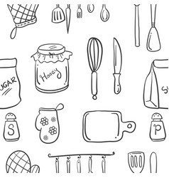 Collection stock kitchen set doodle style vector