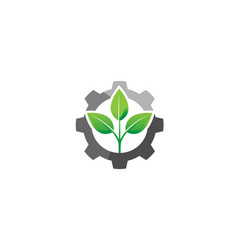 creative gear leaf agricultural technology logo vector image