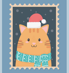 Cute cat celebration happy christmas stamp vector