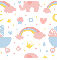 cute childish seamless pattern design element can vector image