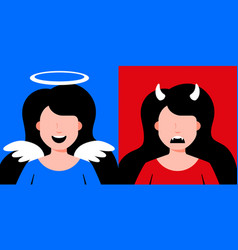 Devil and angel girls vector