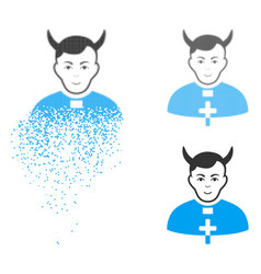 Dispersed pixel halftone devil priest icon with vector