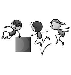 Doodles kid doing free jump vector