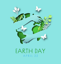Earth day papercut card people hugging world vector