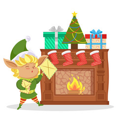 elf in living room socks and gifts on fireplace vector image