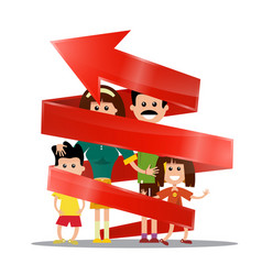 family inside red arrow future planning concept vector image