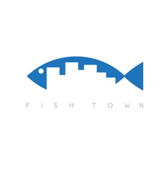 fish town concept design template vector image